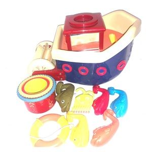 Vintage Hard Plastic Toy boat With Accessories